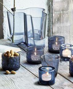 Iittala | the Kastehelmi serie (the candlelights with dots), the Kivi serie (the plain candlelights), the Aalto vase, the Kaj Franck drinking glass