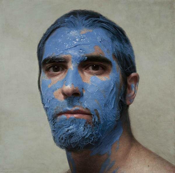 Hiperrealismo: Autorretrato en lienzo. Pintor: Morales.