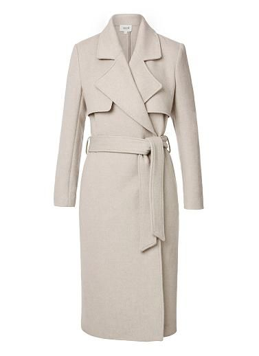 Wool/Polyester Tailored Long Coat. Comfortable yet neat fitting silhouette features a wide lapel, long sleeves, side pockets and waist tie with long line hem. Available in Wheat as shown.