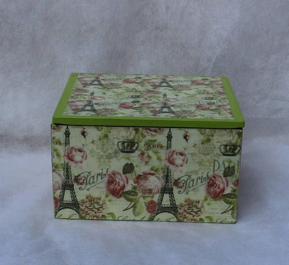 Paris Themed Trinket Box  Decoupage Trinket Box  Jewelery