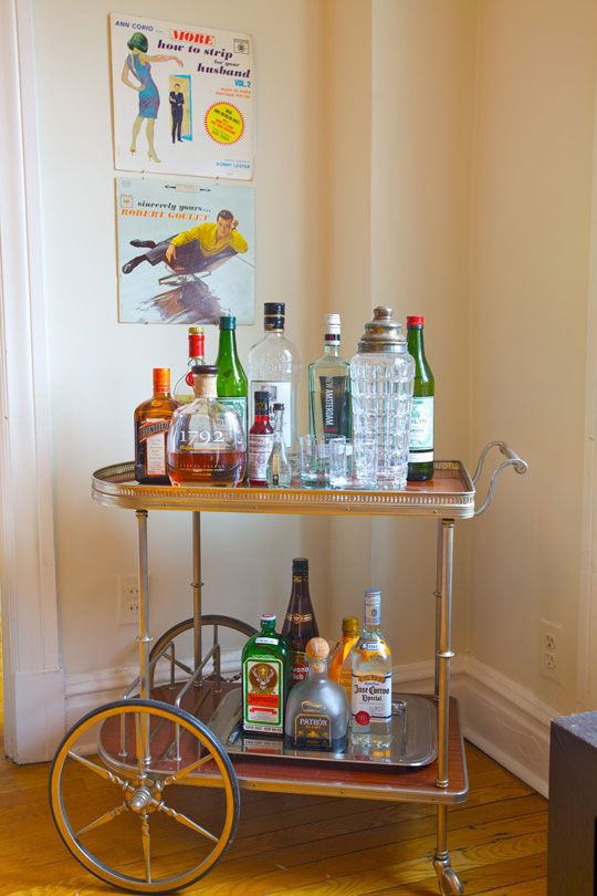 Antique Drink Cart As A Dining Room Bar Perfect For My Little Apartment