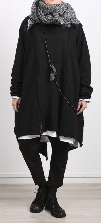 rundholz black label - Stricktunika gekochte Wolle Oversize black - Winter 2017