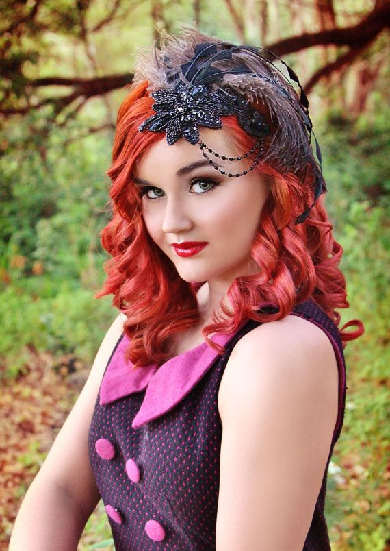I love her makeup! Striking Black and Grey Fascinator by TheHauteFeather on Etsy