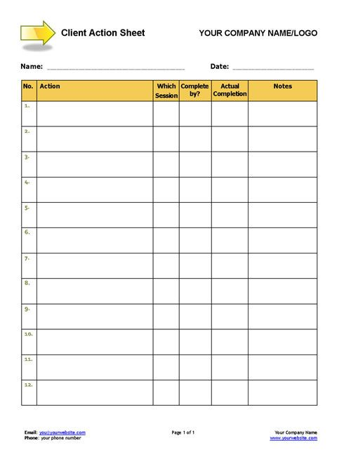 Client Action Sheet TEMPLATE
