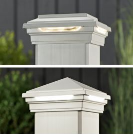 399 best outdoor furniture and decor images on pinterest raised give your deck a warm glow with trex post cap lights that are discreetly tucked aloadofball Images