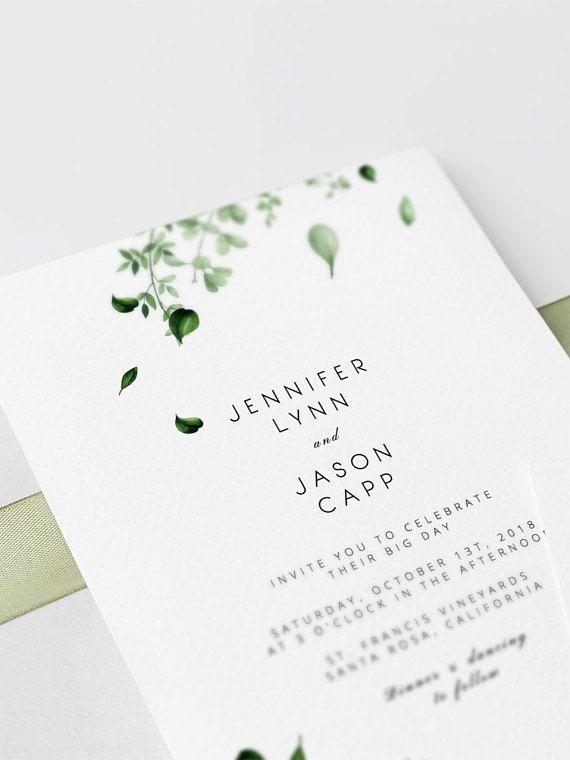 Grun Hochzeits Einladungs Schablonen Botanische Grune Blatter