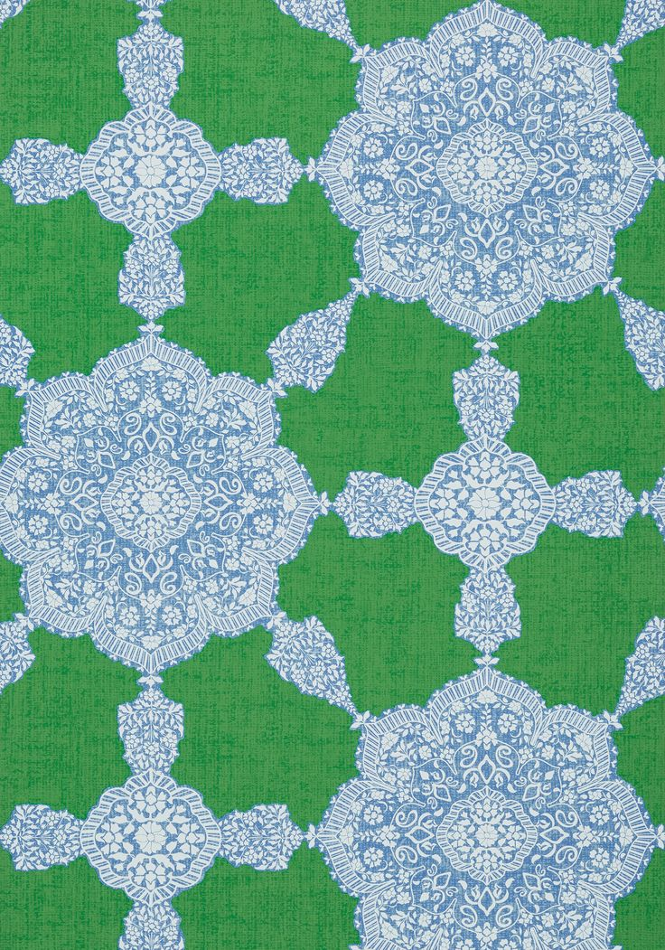 MEDALLION PAISLEY, Blue and Green, T88730, Collection Trade Routes from Thibaut