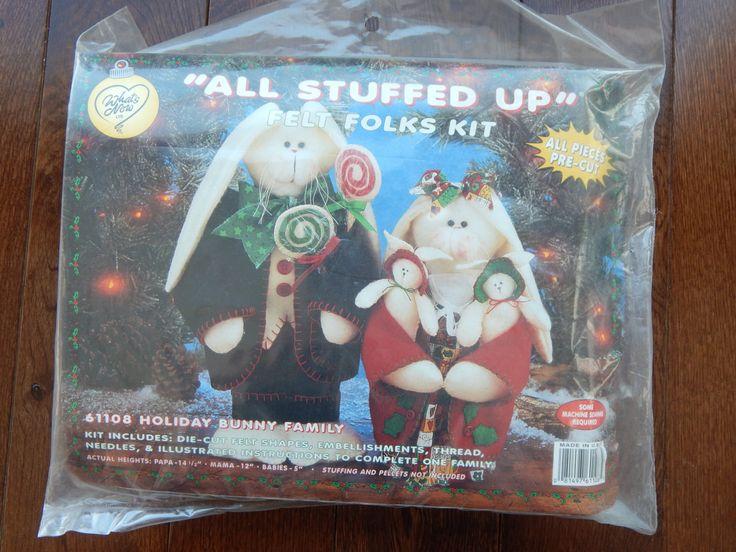 "Christmas Pre Cut Felt Holiday Bunny Family Kit/What's New Ltd ""all Stuffed Up'' Felt Folks Kit/ mom, dad, babies,Die cut felt/ Sealed by RedWickerBasket on Etsy"