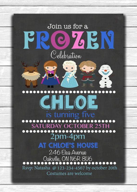 Preciosa invitación para una fiesta temática inspirada en la película de Disney Frozen. #Frozen #invitaciones