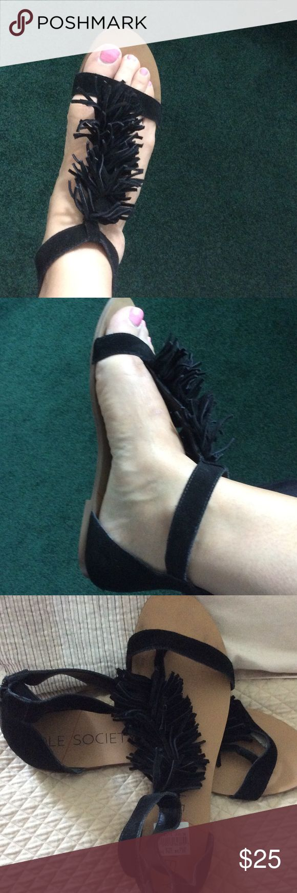 Sole Society black suede sandals with fringe Worn once. These sandals are an 11 but fit like a 10, zipper back heel, QVC on air price was 64.95 Sole Society Shoes Sandals