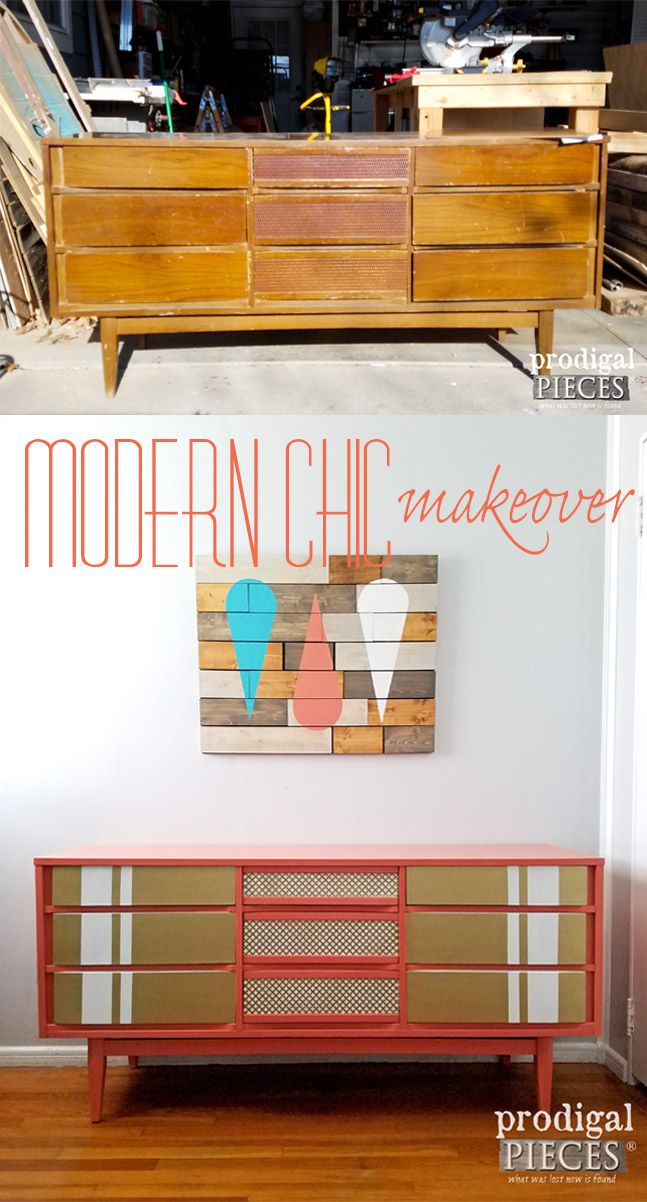Modern Chick Makeover of a Vintage Mid Century Modern Dresser by Prodigal Pieces | prodigalpieces.com