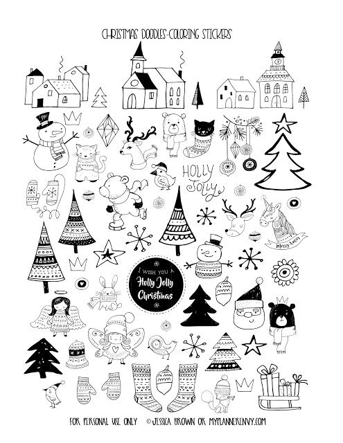 Free Printable Christmas Doodles Coloring Stickers {PDF, JPG and Studio3 files} from myplannerenvy.com
