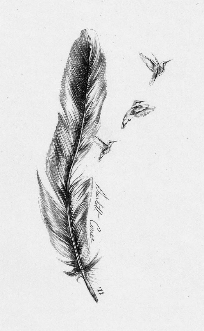 Impressive Birds Flying And Feather Tattoo Design