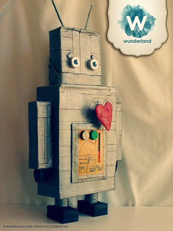 i heart Robot Pinata Made to Order by wunderlandhome on Etsy, $75.00