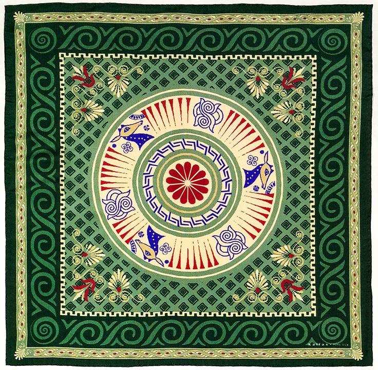 Fabric : 100% Pure Silk Type   : Foulard 7m/m Print   : digital Hand-rolled edges Dimensions  : 50x50cm / 19''x19'' Theme : Ancient Greek Motifs 17-50-111 Green-Beige