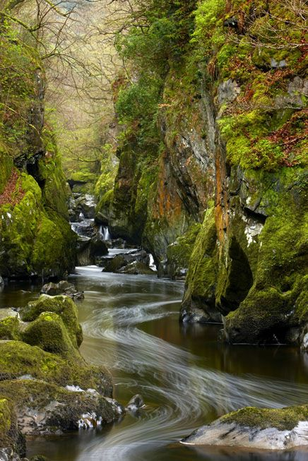 The Fairy Glen, a gorge on the Conwy River, Betws-y-Coed, Snowdonia National…