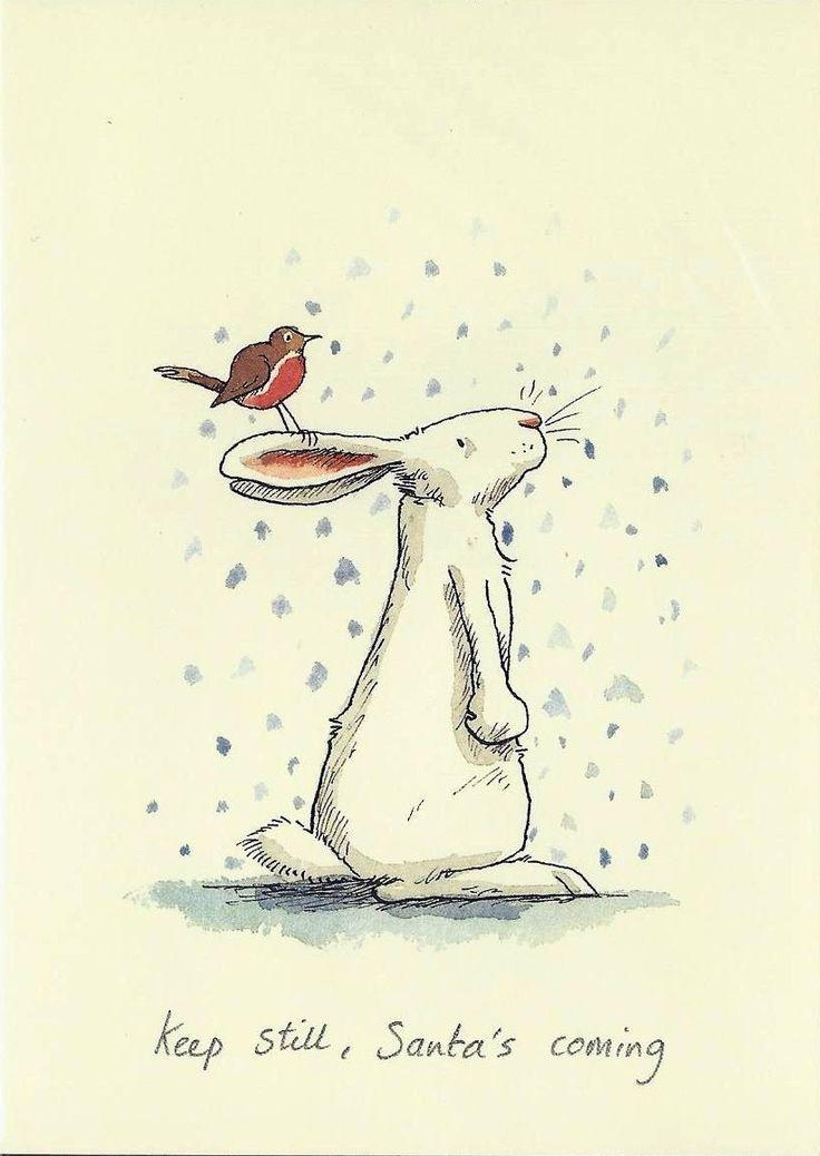 Karte mit einem weissen Hasen, auf dessen Ohren ein Vogel sitzt, und Schneeflocken. Mit Text Keep still, Santa's coming, gezeichnet von Anita Jeram