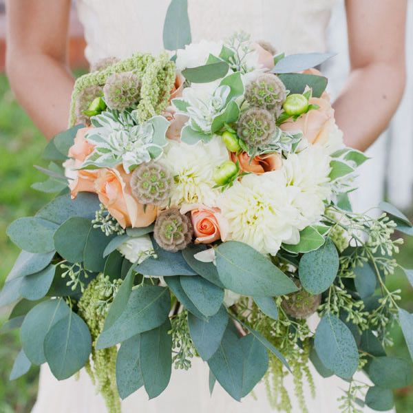 Scabiosa Pod Arrangements, Wedding Flowers Photos by Christa Elyce Photography - Image 1 of 19 - WeddingWire
