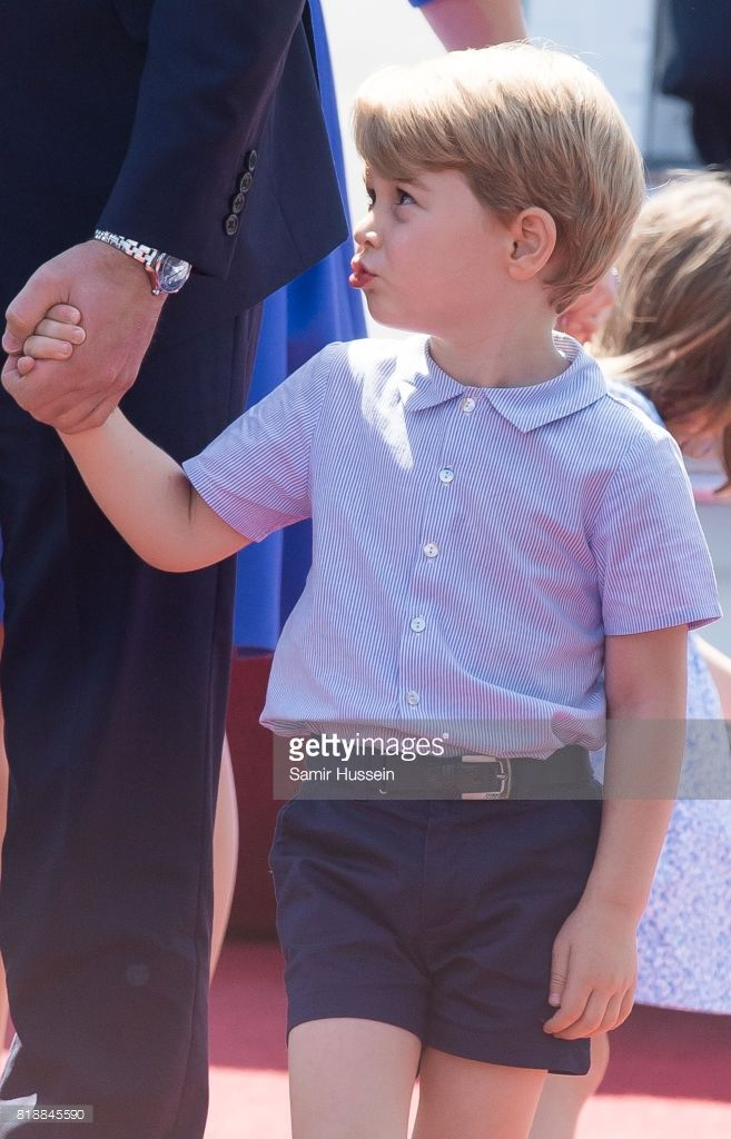 Prince George of Cambridge arrives at Berlin military airport during an official visit to Poland and Germany on July 19, 2017 in Berlin, Germany.