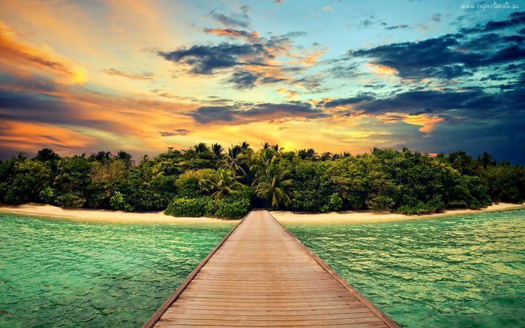 Tropiki, Wyspa, Dżungla, Morze, Molo