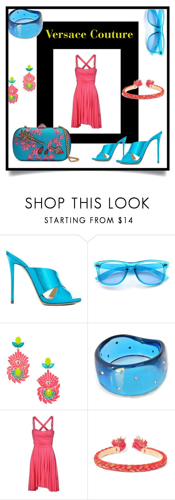 """""""Water Mellon"""" by amyopt ❤ liked on Polyvore featuring Giuseppe Zanotti, ZeroUV, Versace Jeans Couture, Aurélie Bidermann and Gucci"""