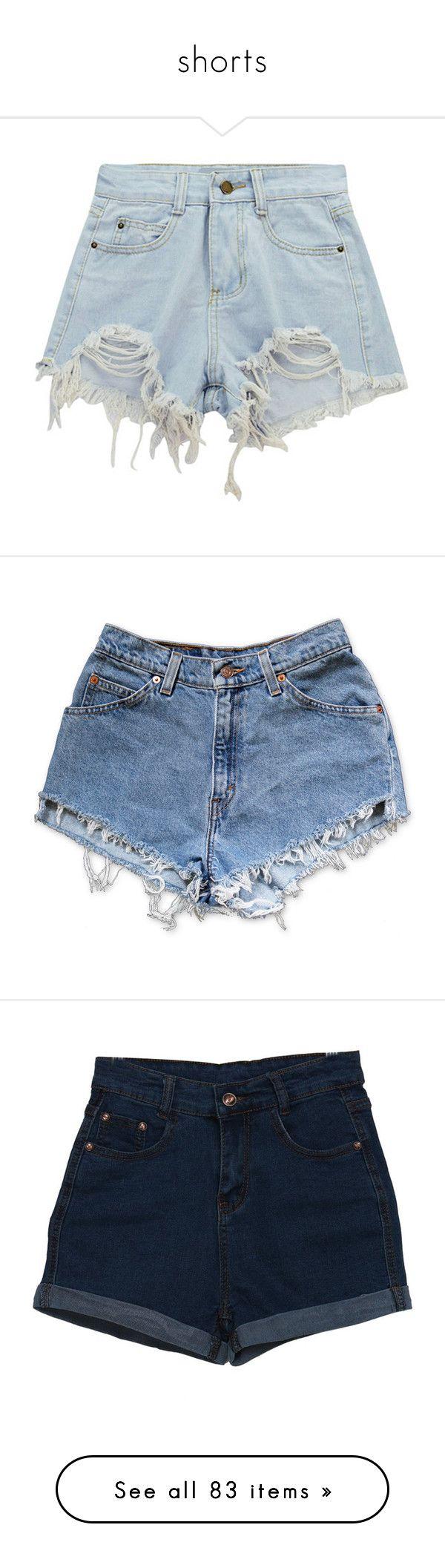 """shorts"" by brigi-bodoki ❤ liked on Polyvore featuring shorts, bottoms, short, short shorts, high-rise shorts, high waisted ripped shorts, high waisted destroyed shorts, ripped shorts, denim cut-off shorts and short jean shorts"