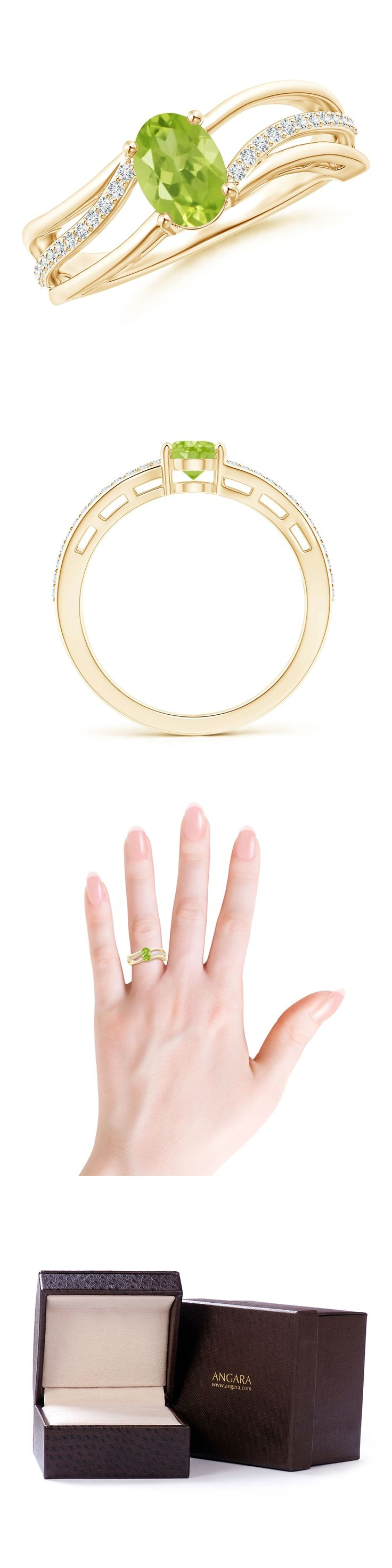 Gemstone 164343: Solitaire Oval Green Peridot Engagement Ring With Diamond 14K Yellow Gold Size 6 BUY IT NOW ONLY: $323.1