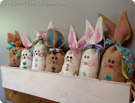 burlap bunnies originally done by oopsey daisy and redone by urban hoot :) AKA cute enough to blog about twice