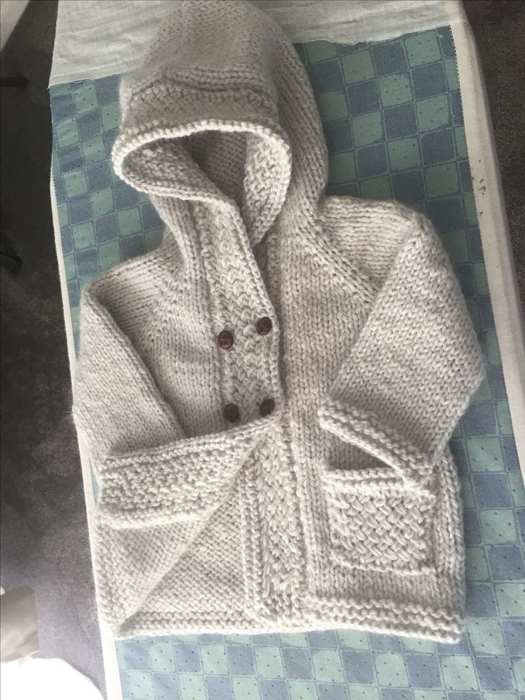 Bulky knit hoodie with basket weave border made for Elliot 💙💙