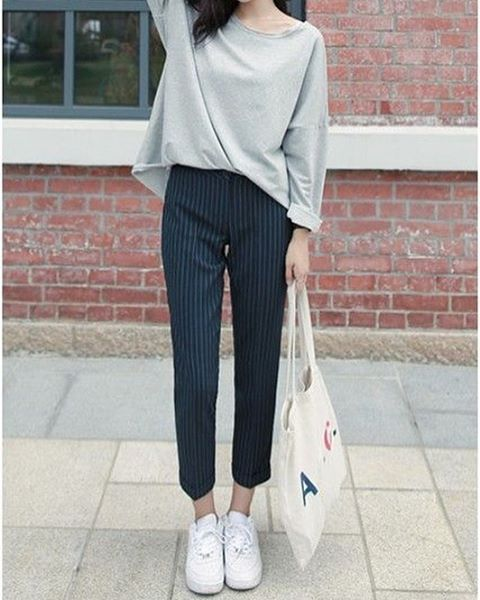 The perfect mix of dressy and casual! Try pairing dress pants with your more casual clothes, like an oversized t shirt. You'd be surprised how well they compliment eachother! #airportfashion #korea #korean #kpop #kdrama #koreanfashion #beautyblogger #beautyguru #fashion #stylist #personalstylist #wishi #style #clothes #sweater #falloutfit #gray #summer #fashionblogger #fashionista #outfitideas #dresspants #kfashion #streetfashion #wishi #hairstyle #beauty #makeup #aesthetic #outfitideas