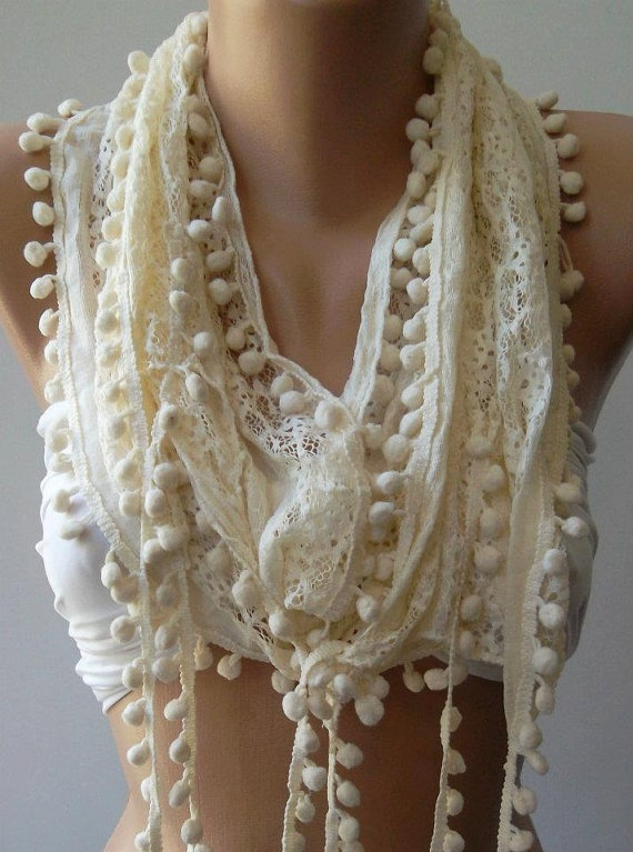 Beige   Lace and Elegance Shawl / Scarf  with Pompom by womann, $15.50