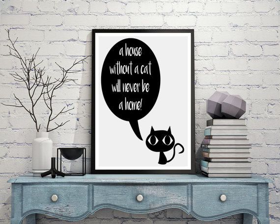 Cat lover gift, Home is, House sign, Cat print, Kitty, Minimalist art, Printable quotes, Home decor,Cute animals,Pet painting,Print download.  This listing is for an INSTANT DOWNLOAD of 2 JPEG files of this artwork. Just purchase the listing and your print is ready to download instantly. Why not print one for a friend, or just for fun?  Once you purchase the poster you will receive the following files:  - 1 JPEG high resolution (300 dpi) file with trim marks 8x10 inches. - 1 JPEG high…