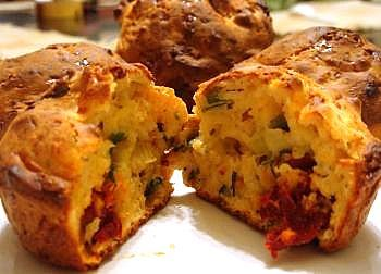 Cheese & Sun-Dried Tomato Muffins - would be good with a little cooked and crumbled bacon thrown in.....
