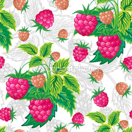 Vector illustration. Classic colorful seamless pattern of raspberries. — Ilustracja stockowa #96670860