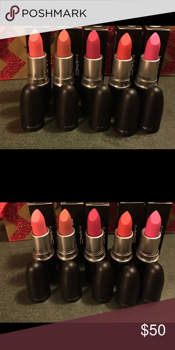 🍭MAC Matte Lipsticks-  5 colors - NEW 🍭 🍭MAC Matte Lipsticks-  5 colors - new & Boxed  Never used - never tested - never swatched  Great for gifts or to add to your collection! MAC Cosmetics Makeup Lipstick