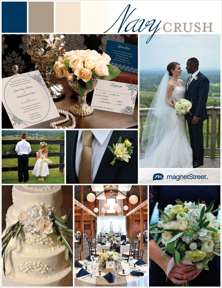 Navy is sleek and confident shade of blue--beloved by both men and women. Be inspired by these navy wedding ideas for a chic and sophisticated look! #magnetstreet