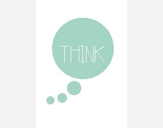 "Poster download ""Think"" mintgroen cirkel tekstposter quote typografie decoratie illustratie print kantoor slaapkamer woonkamer"
