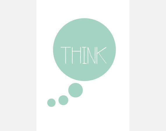 """Poster download """"Think"""" mintgroen cirkel tekstposter quote typografie decoratie illustratie print kantoor slaapkamer woonkamer"""