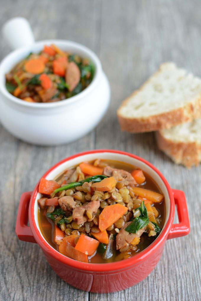 This Spicy Sausage Lentil and Kale Soup is protein-packed and full of vegetables. Make a batch to enjoy for dinner or pack it for lunch all week!