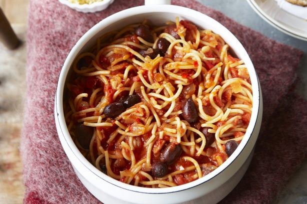 Slightly spicy and utterly irresistible, this spaghetti amatricana served with grated parmesan and crusty bread will surely be a favourite with the family.