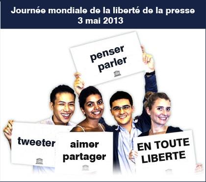3 mai #libertepresse : Journée mondiale de la liberté de la presse - Cela fait 20 ans qu'est célébrée la Journée, mais la sécurité des journalistes n'est toujours pas acquise dans le monde entier : 121 journalistes ont été assassinés au cours de la seule année 2012! Diffusez le message, « Parler sans crainte : assurer la liberté d'expression dans tous les médias. » http://www.un.org/fr/events/pressfreedomday/