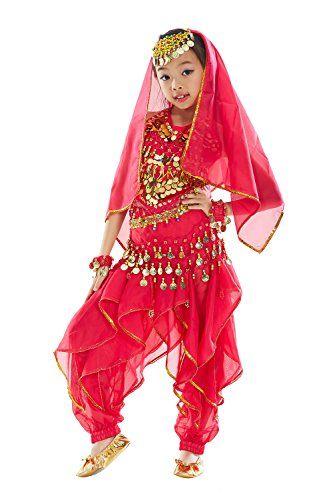 6398f988884d4 BELLYQUEEN Déguisement Fille Princesse Ensemble de Robe Danse Costume de  Ventre Carnaval Costume de Danse Oriental