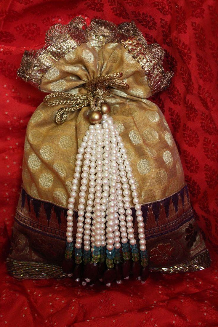 pearl hanging potli bag in chanderi cotton! Indian ethnic bag!!
