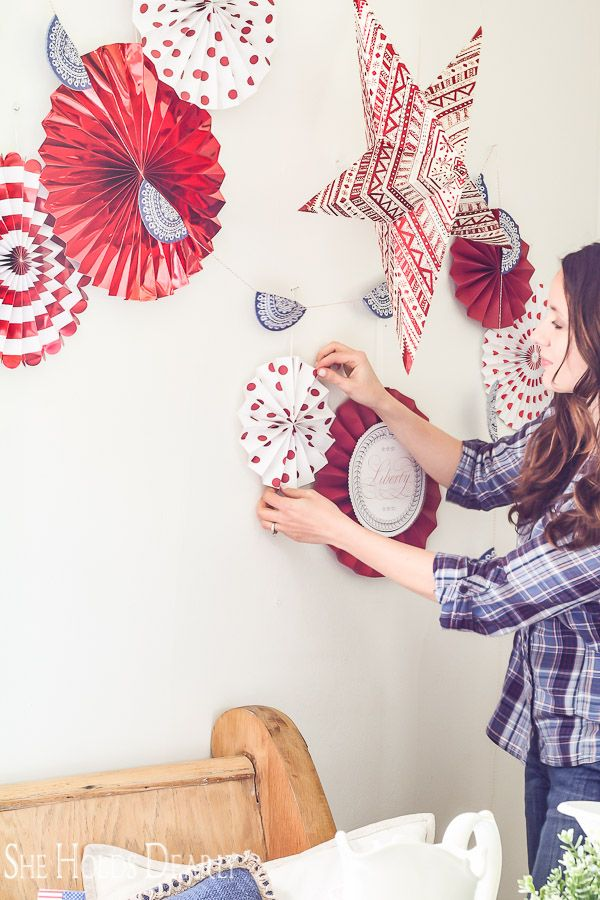 This Inexpensive Backdrop Is Perfect For The 4th Of July Check Out How To Make Your Own Patriotic Paper Fan Wall Decor