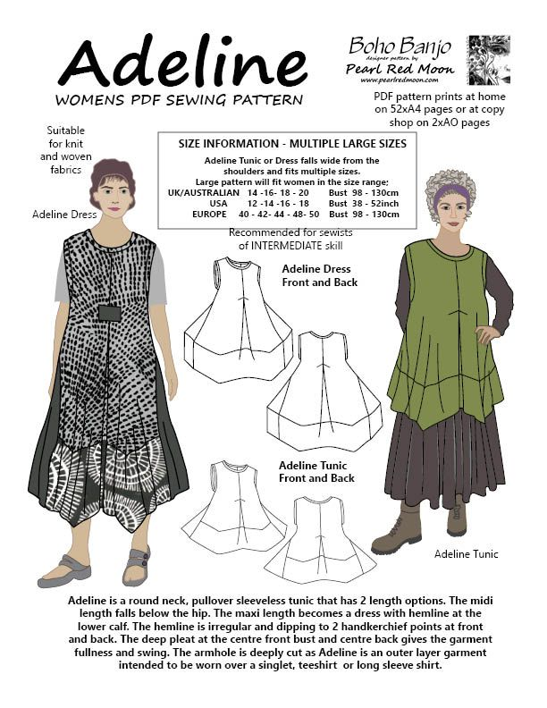 Lagenlook style sewing pattern - https://www.etsy.com/au/shop/pearlredmoon                                                                                                                                                                                 More