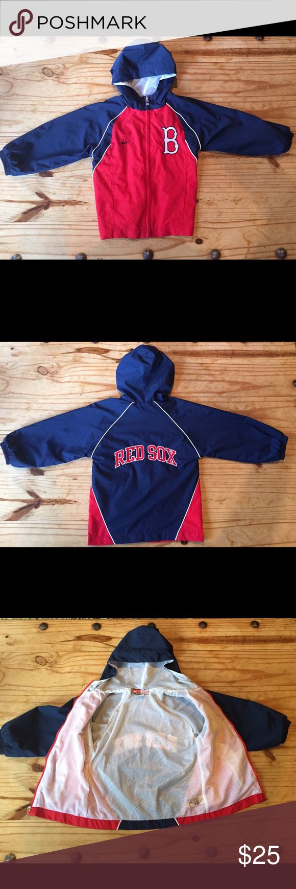 Official Red Sox Kids Nike Windbreaker Jacket Official MLB Red Sox merchandise in perfect condition! Nike lined windbreaker zippered jacket with pockets and hood. Red Sox logo on front and back. Jackets & Coats