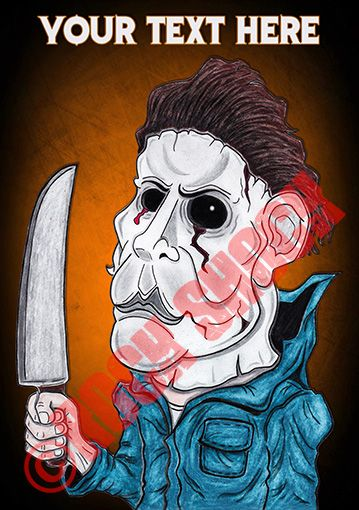 HALLOWEN (Michael Myers) Caricature Greeting Cards with Personalised Text http://www.ebay.co.uk/itm/172361588578?var=&ssPageName=STRK:MESELX:IT&_trksid=p3984.m1558.l2649 #halloweenmovie #michaelmyers #mikemyers #halloweencaricature #caricatures #classichorror #horrormovies #horrorcards