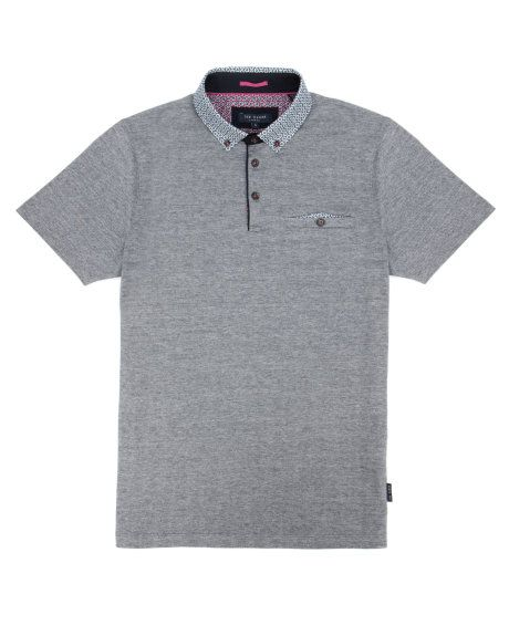 Printed collar polo - Navy | Tops & T-shirts | Ted Baker UK