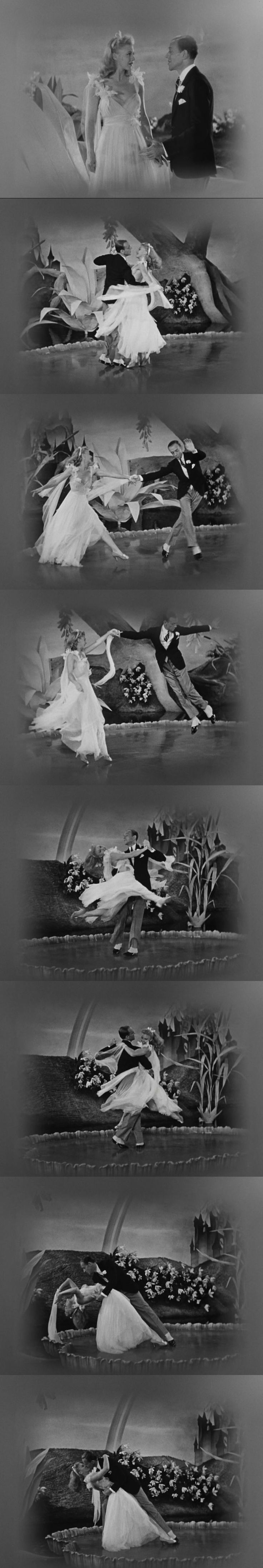 Ginger Rogers and Fred Astaire in a dream sequence dancing to the tune of Irving Berlin's I Used to be Color Blind. It also has the longest kiss between the two brothers. Carefree 1938