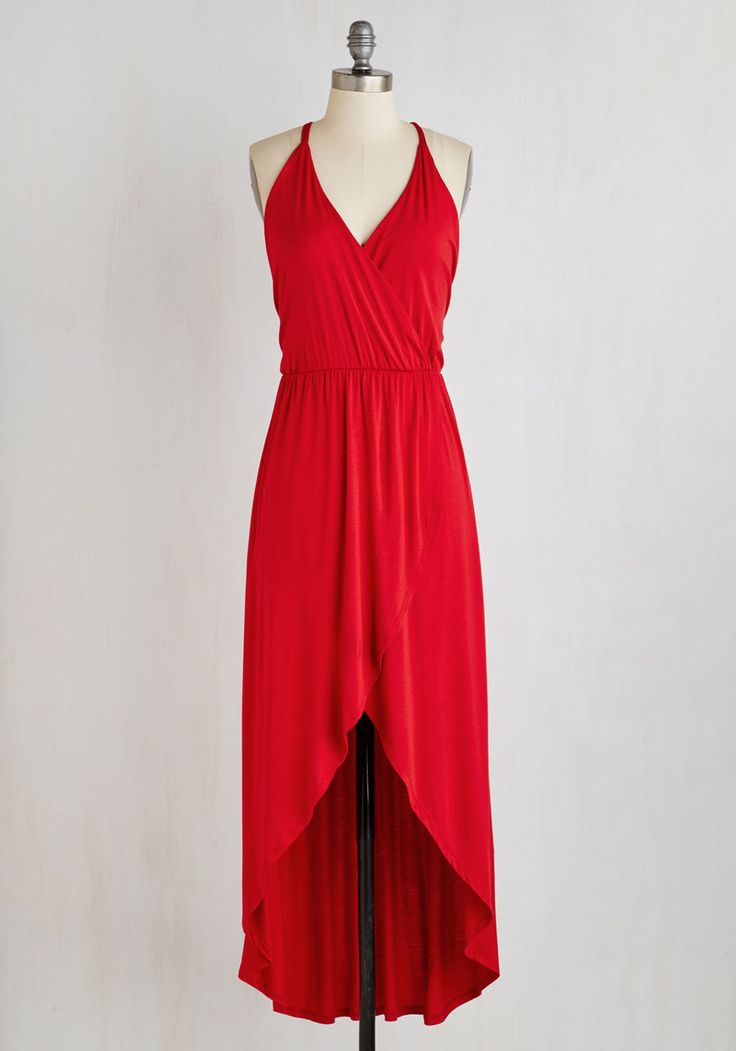 Midnight Tide Dress in Red. Get cozy with pals around the beach bonfire in this jersey knit maxi dress! #red #modcloth